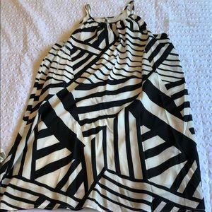 Dresses & Skirts - Sleeveless off white dress geometric black design